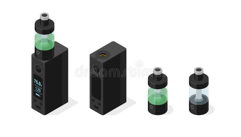 Isometric wektorowa ikona ustawiająca elektroniczny papieros i vaping ciecz w ilustracja wektor