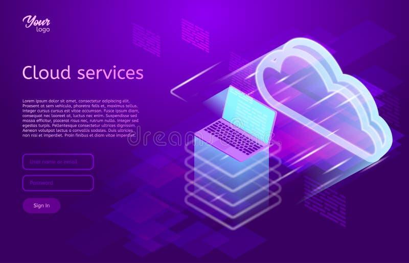 Isometric wektorowa ilustracja pokazuje chmurę oblicza usługa pojęć serwer www i laptop Obłoczny przechowywanie danych royalty ilustracja
