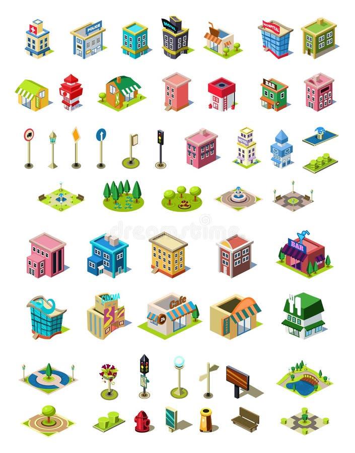 Isometric wektorowe ikony ustawiać dla miasto konstruktora Domy, kawiarnia, szpital, sklep, hotel, drogowy wyposażenie, parkowi e royalty ilustracja
