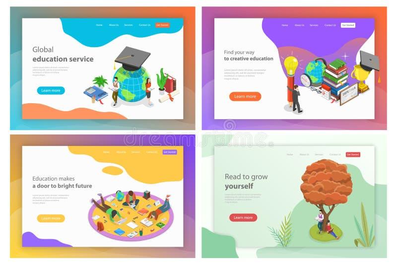 Isometric wektorowi lądowanie strony szablony dla edukaci, czytanie, wiedza ilustracja wektor
