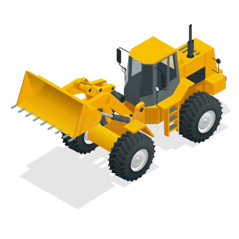 Isometric Wektorowy ilustracyjny żółty buldożeru ciągnik, budowy maszyna, buldożer odizolowywający na bielu Żółty koło ilustracja wektor