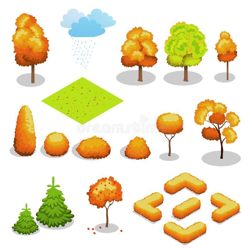 Isometric wektorowy jesieni drzewa set Krajobrazowy konstruktora zestaw Różni drzewa dla robią projektowi ilustracji