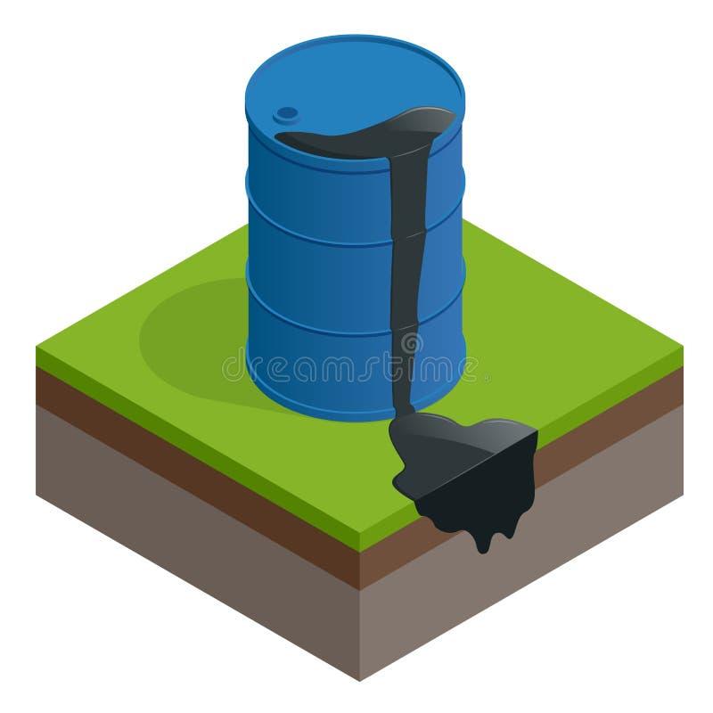 Isometric wektorowy odpady lub wyciek ropy Nafcianej baryłki brudny bęben odizolowywający na białym tle ilustracja wektor