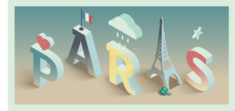 Isometric wektorowy Paris pocztówkowy projekt ilustracja wektor