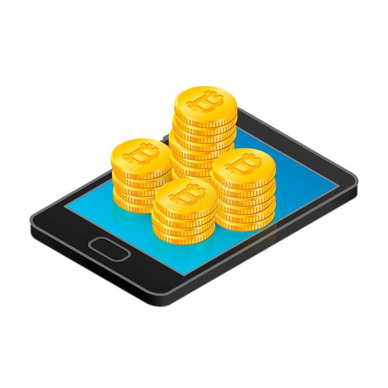 Isometric wektorowy smartphone z złocistymi bitcoin monetami Crypto waluty cyfrowa ilustracja Wirtualna gotówka, sieć pieniądze ilustracja wektor