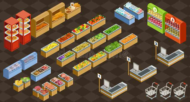 Isometric wektorowy supermarket ilustracja wektor