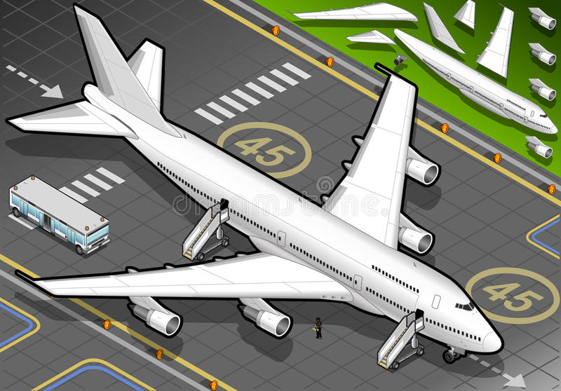 Download Isometric White Airplane Landed In Front View Stock Vector - Image: 31180773