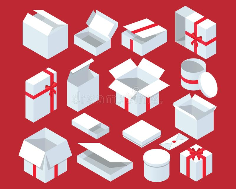Isometric white gift box with red ribbon. New year surprise square containers vector set. vector illustration