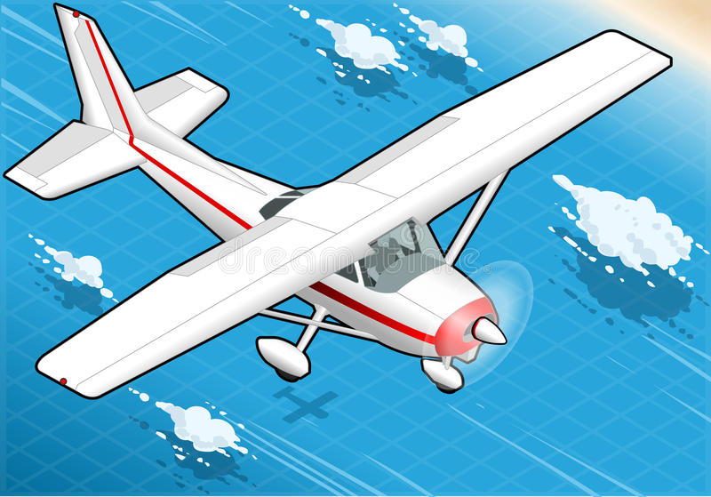 Isometric White Plane in Flight in Front View vector illustration