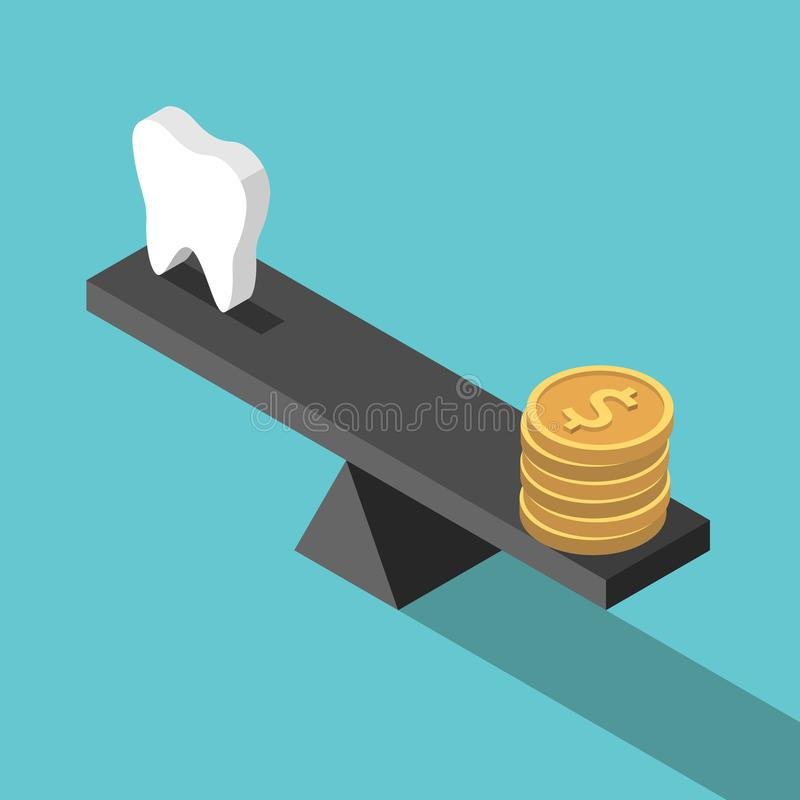 Isometric tooth, money, balance. Isometric white tooth and gold dollar coins on seesaw weight scales on turquoise blue. Dental care, health, price and money stock illustration