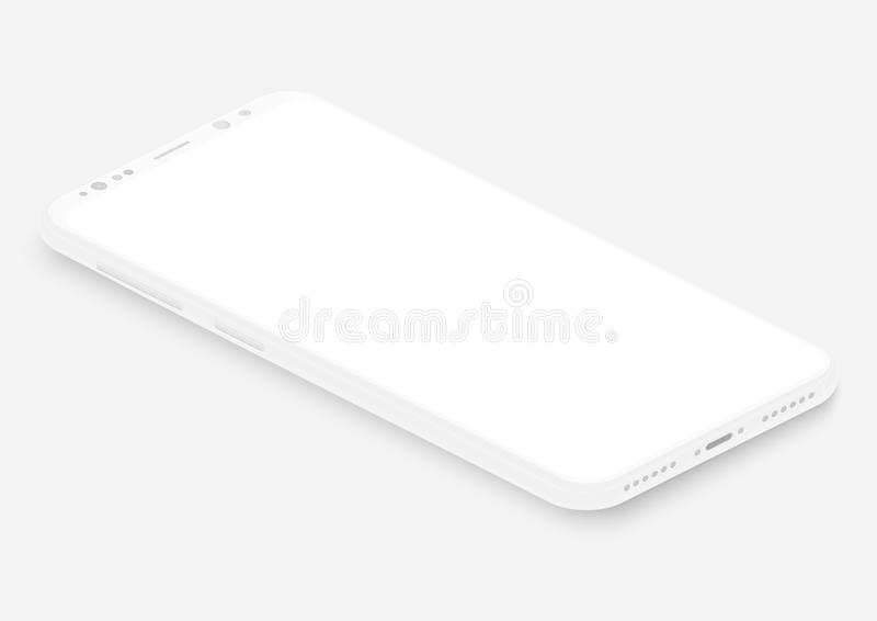 Isometric white vector smartphone. 3d realistic empty screen phone template for inserting any UI interface, test or royalty free illustration
