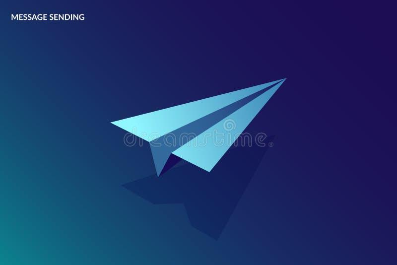Isometric wiadomości dosłania pojęcie Wektoru papierowy mały samolot Wizerunek dla sztandaru lub lądowanie strony ilustracji
