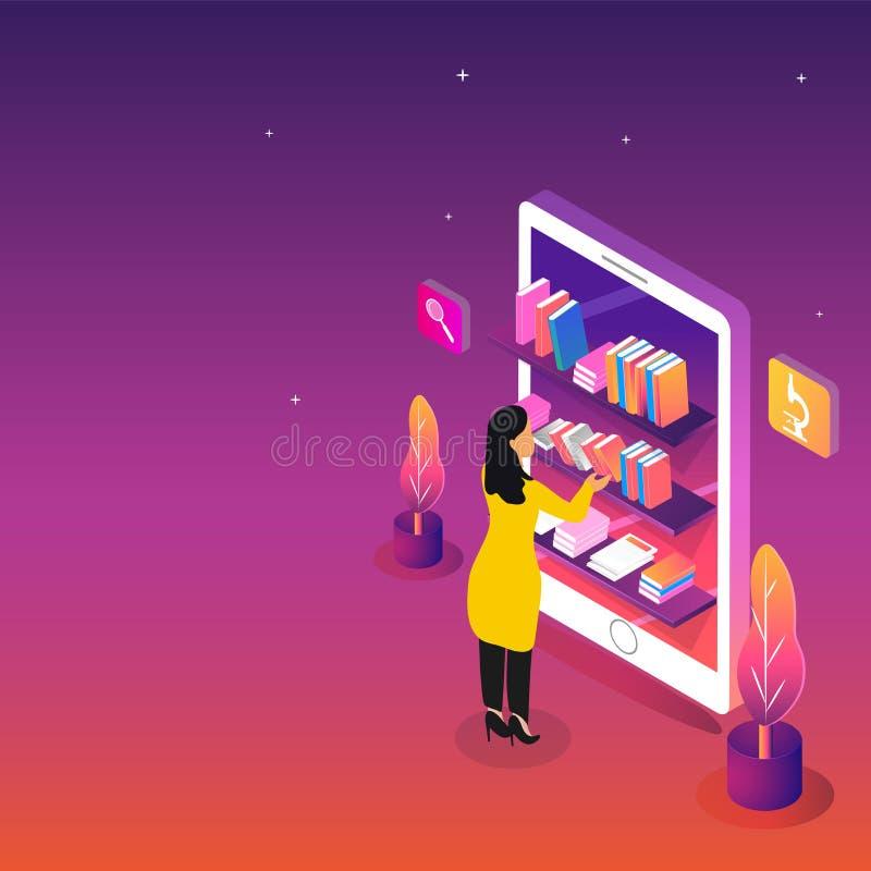 Isometric widok biblioteka lub Online biblioteka w smartphone z ilustracji