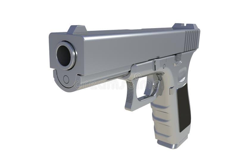 Isometric widok chromium semi automatyczny 9x19 pistolecik odizolowywający royalty ilustracja