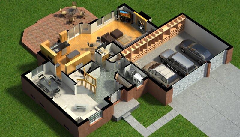 Isometric widok meblujący dom ilustracji