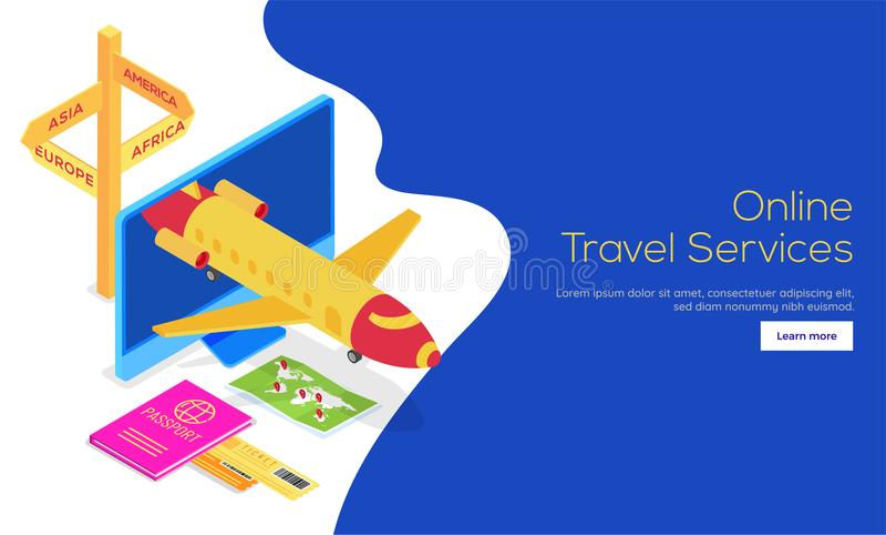 Isometric widok samolot na desktop ekranie z ilustracją ilustracji
