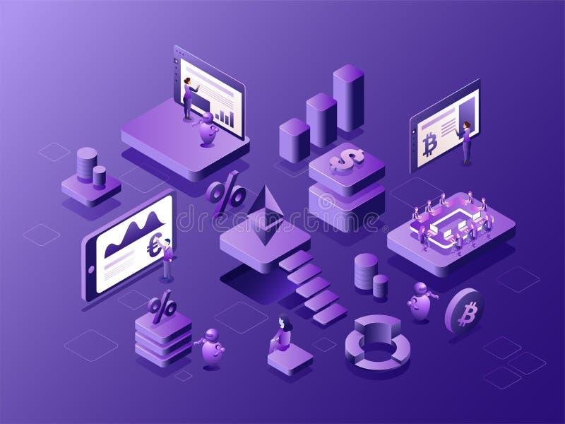 Isometric widok wirtualny istna pieniądze wymiany platforma z 3 ilustracji