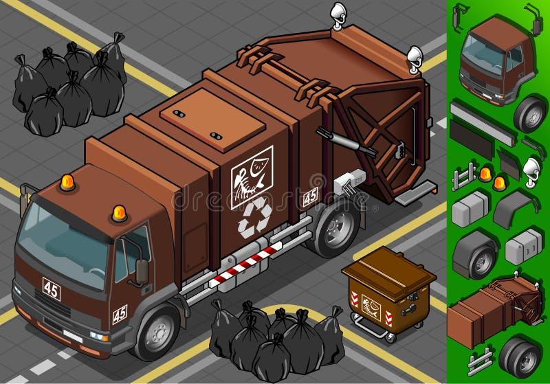 Isometric wilgotna jałowa śmieciarska ciężarówka royalty ilustracja