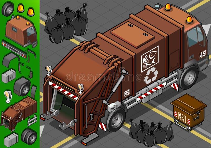 Isometric wilgotna jałowa śmieciarska ciężarówka ilustracja wektor