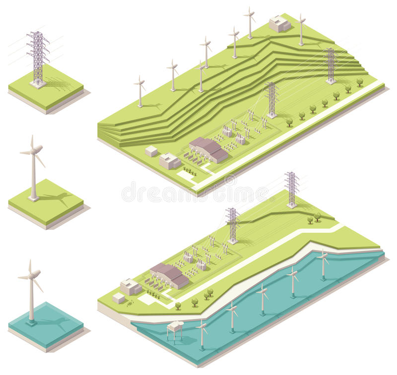 Isometric wind farm. Vector isometric map representing offshore and onshore wind farms
