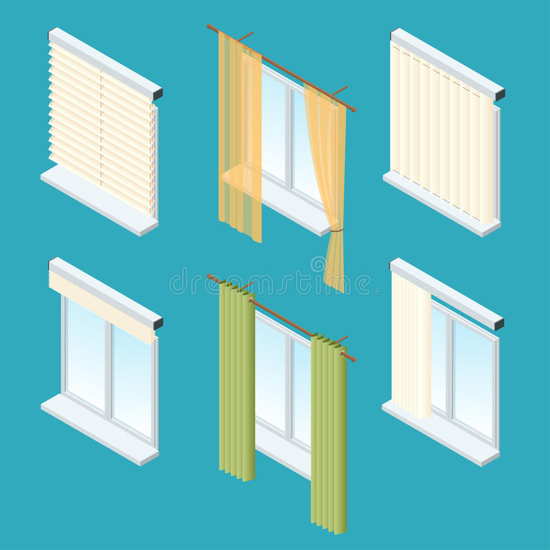 Isometric windows, curtains, drapery, shades, blinds. Vector collection of various window treatments royalty free illustration