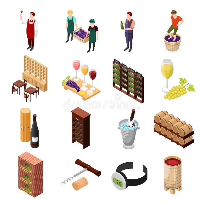 Wine Isometric Icon Set stock illustration