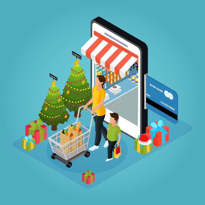 Isometric Winter Holiday Online Shopping Concept. With woman boy present boxes Christmas trees mobile vector illustration vector illustration