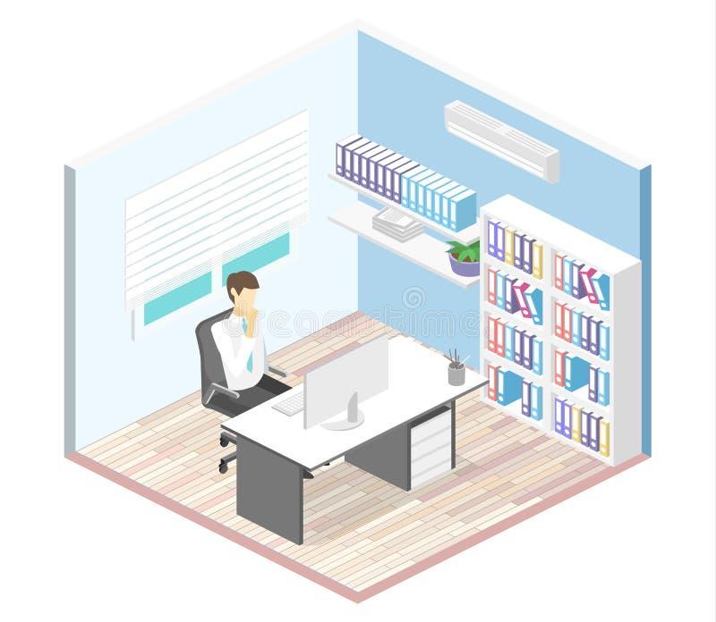 Isometric wnętrze dyrektora ` s biuro Płaski 3D ilustraci gabinet ilustracji
