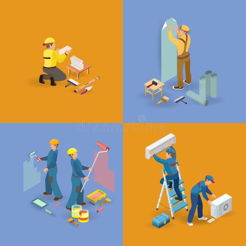 Isometric wnętrze naprawia ikony ustawiać Pracownicy, narzędzia ilustracji