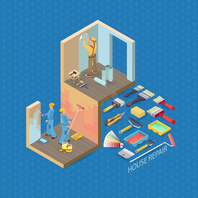 Isometric wnętrze naprawia pojęcie Wektorowa mieszkania 3d ilustracja ilustracji