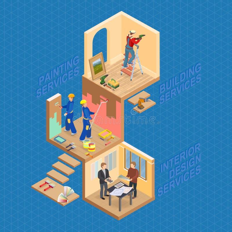 Isometric wnętrze naprawia pojęcie Wektorowa mieszkania 3d ilustracja royalty ilustracja