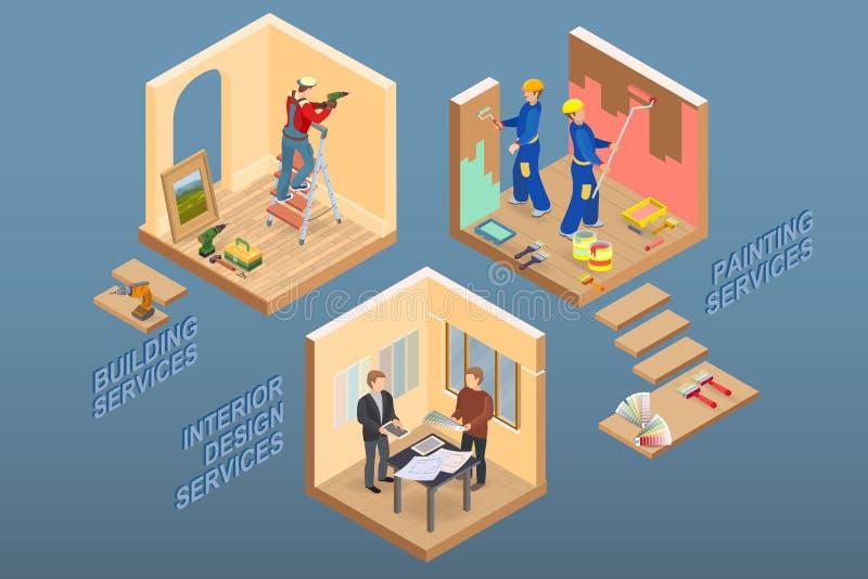 Isometric wnętrze naprawia pojęcie Wektorowa mieszkania 3d ilustracja ilustracja wektor