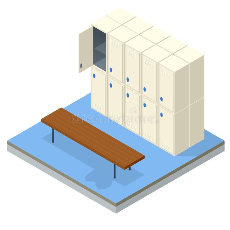 Isometric wnętrze odmienianie pokój i szafka Wektorowa odmienianie szatnia z prysznic klauzur magazynem i ławkami royalty ilustracja
