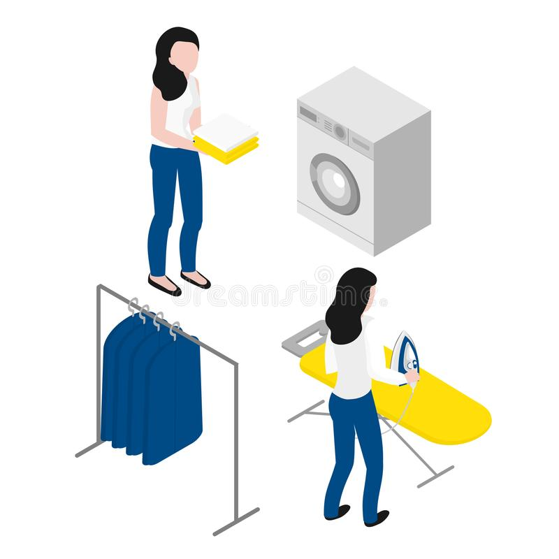 Isometric woman ironing clothes on board. Maid in uniform. Laundry company occupation. Housemaid chores. Isometric woman ironing clothes on board. Maid in royalty free illustration