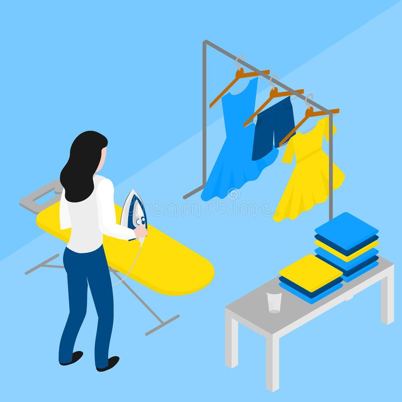 Isometric woman ironing clothes on board. Maid in uniform. Laundry company occupation. Housemaid chores. Isometric woman ironing clothes on board. Maid in stock illustration