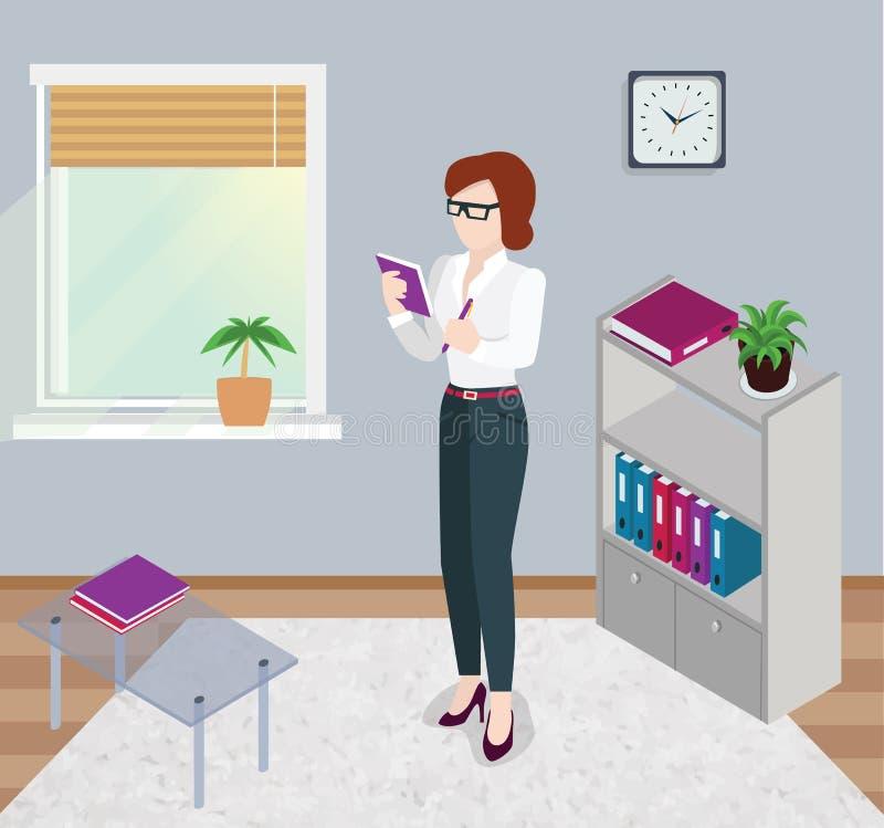 Isometric Woman Office Work Interior Design vector illustration