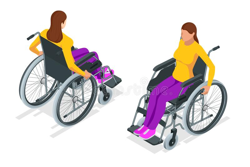 Isometric woman in a wheelchair using a ramp isolated. Chair with wheels, used when walking is difficult or impossible. Due to illness, injury, or disability vector illustration