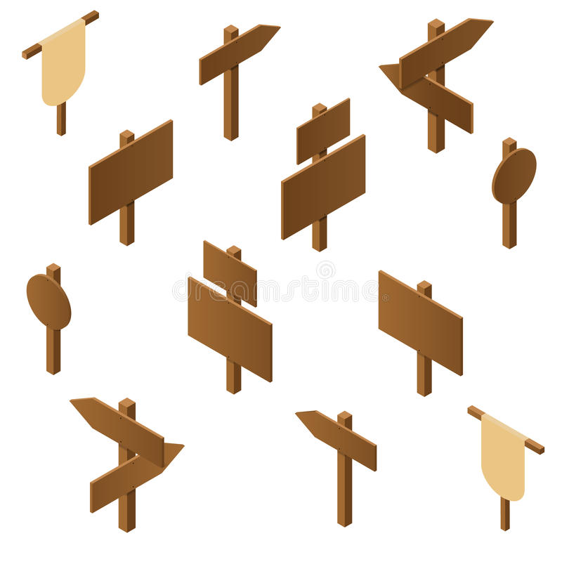Isometric wooden pointers. Brown plywood. Rustic signs direction vector illustration