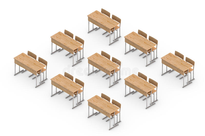Download Isometric Wooden School Desk And Chair Isolated On White. 3d Ren  Stock Illustration