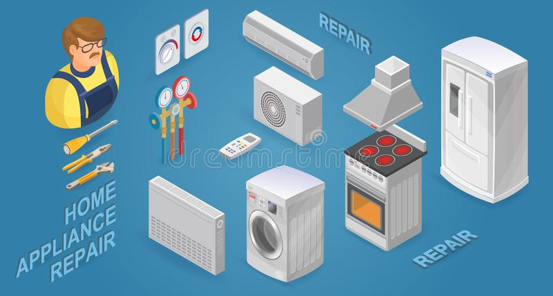 Isometric worker with tools and home appliances. Vector illustration. Home appliance repair. Isometric worker with tools and home appliances. Maintenance of royalty free illustration