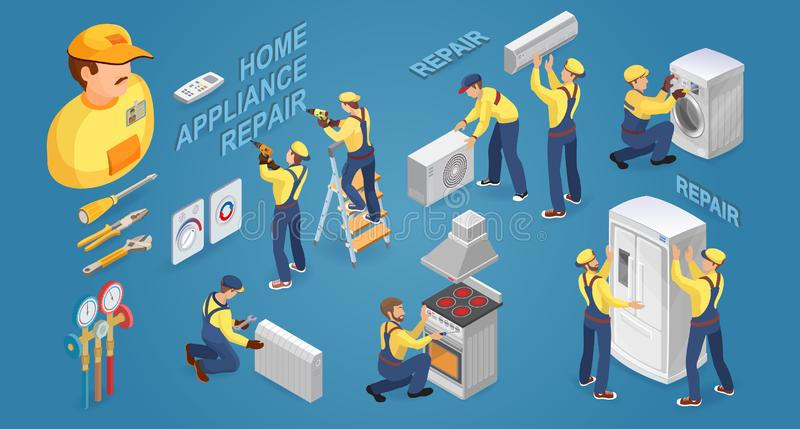 Isometric worker with tools and home appliances. Vector illustration. stock illustration