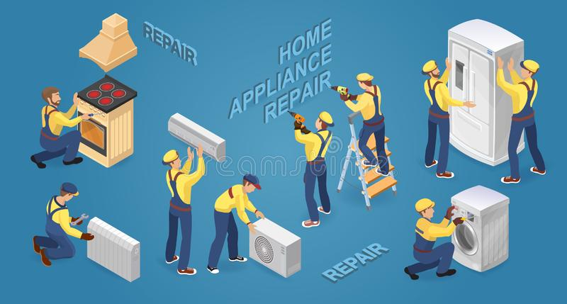 Isometric workers with faulty home appliances. Vector illustration. vector illustration