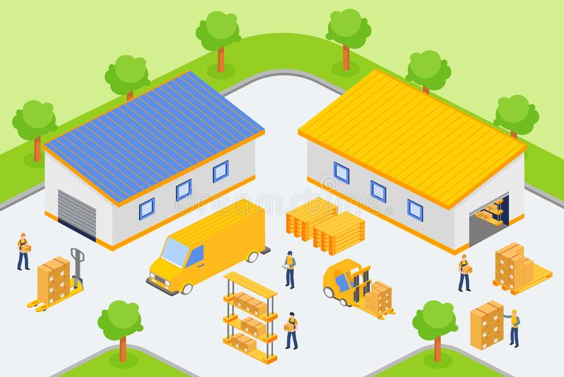 Isometric workers loading and unloading vehicles in yard of warehouse company. royalty free illustration