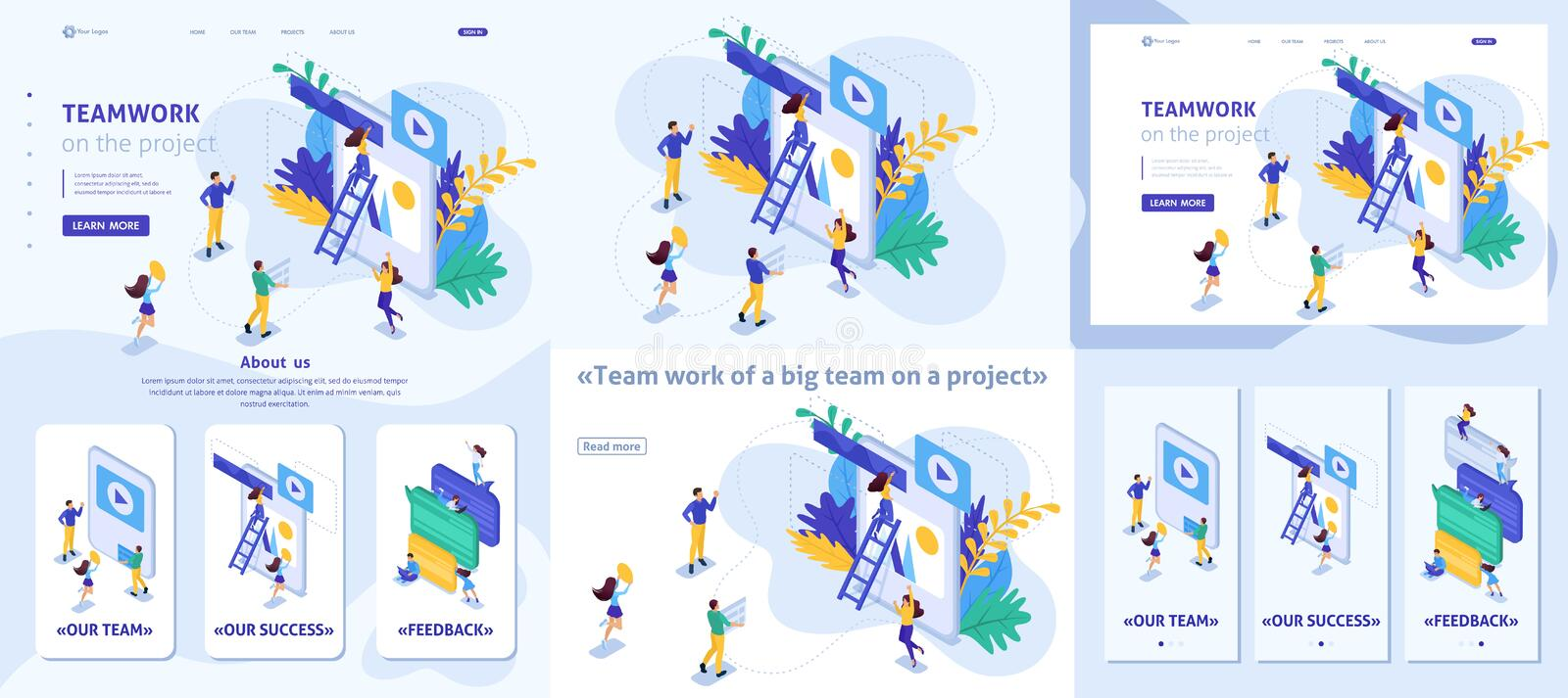 Isometric Workflow and Teamwork on a Project stock illustration