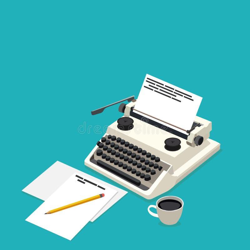 Isometric workplace writer stock illustration