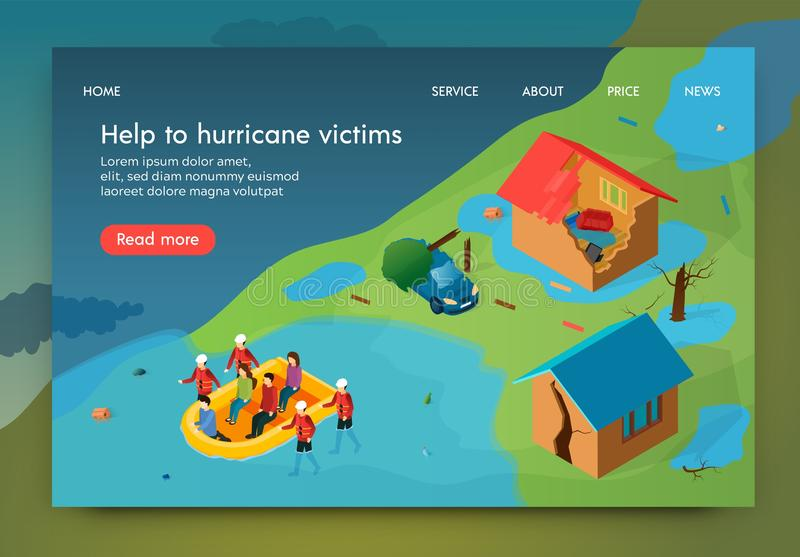 Isometric is Written Help to Hurricane Victims. vector illustration