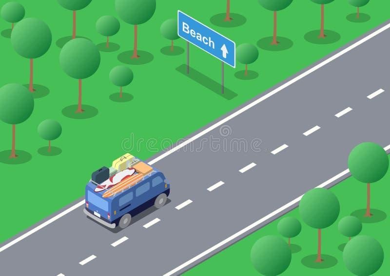 Isometric wycieczka samochodowa royalty ilustracja