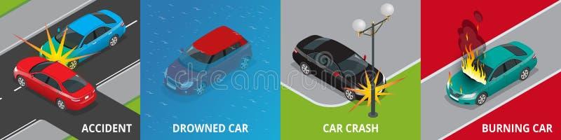 Isometric wypadek drogowy, tonący samochód, kraksa samochodowa, płonący samochodowy pojęcie ilustracji