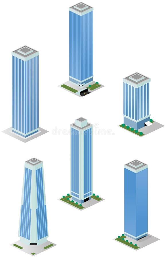 Isometric Wysocy miasto budynki biurowi ilustracja wektor