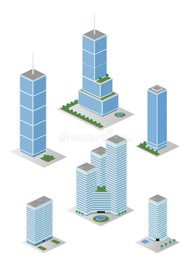 Isometric Wysoka miasto budynków biurowych paczka ilustracja wektor